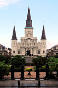 Statue Portrait Digital Art - St Louis Cathedral on Jackson Square in the French Quarter New Orleans Ink Outlines Digital Art by Shawn OBrien