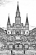 Statue Portrait Digital Art - St Louis Cathedral on Jackson Square in the French Quarter New Orleans Photocopy Digital Art by Shawn OBrien