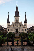 Statue Portrait Digital Art - St Louis Cathedral on Jackson Square in the French Quarter New Orleans Poster Edges Digital Art by Shawn OBrien