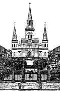 Statue Portrait Digital Art - St Louis Cathedral on Jackson Square in the French Quarter New Orleans Stamp Digital Art by Shawn OBrien