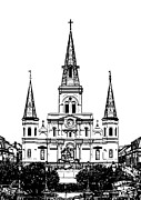 Black And White Prints - St Louis Cathedral Rising Above Jackson Square New Orleans Black and White Stamp Digital Art Print by Shawn OBrien