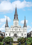 Travel Framed Prints - St Louis Cathedral Rising Above Palms Jackson Square New Orleans Ink Outlines Digital Art Framed Print by Shawn OBrien