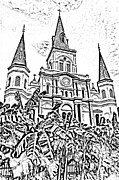 Photocopy Framed Prints - St Louis Cathedral Rising Above Palms Jackson Square New Orleans Photocopy Digital Art Framed Print by Shawn OBrien