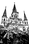 St Louis Cathedral Rising Above Palms Jackson Square New Orleans Stamp Digital Art Print by Shawn OBrien