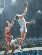 Nba Paintings - St. Louis Hawks 1958 by John Terry
