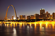 Illuminated Photo Posters - St Louis Skyline Poster by Bryan Mullennix