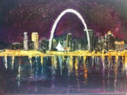 St. Louis Mixed Media Posters - St. Louis Skyline Poster by Made by Marley