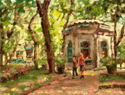 A Shady Spot Paintings - St Louis Square St Denis Street by Carole Spandau