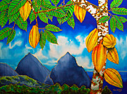 Tropical Art Tapestries - Textiles Prints - St. Lucia Cocoa Print by Daniel Jean-Baptiste
