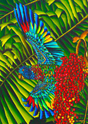 Silk Postcard Tapestries - Textiles Prints - St. Lucias Bird of Paradise Print by Daniel Jean-Baptiste