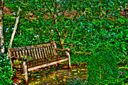 Landscapes Framed Prints - St. Luke in the Field Garden Bench Framed Print by Randy Aveille