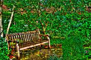 St. Luke In The Field Garden Bench Print by Randy Aveille