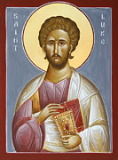 Saint Luke The Evangelist Painting Metal Prints - St Luke the Evangelist Metal Print by Julia Bridget Hayes