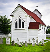 Tombstones Posters - St. Lukes Church and cemetery in Placentia Poster by Elena Elisseeva
