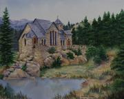 Churches Painting Originals - St. Malos Retreat by Kathleen Keller