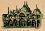 Historical Buildings Drawings Prints - St. Mark Basilica Print by Panupong Roopyai