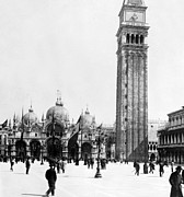 Piazza San Marco Framed Prints - St Marks Campanile in Venice - Italy - c 1902 Framed Print by International  Images