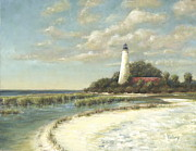 Florida Panhandle Painting Posters - St Marks Light Poster by Pam Talley