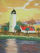 Lighthouse Paintings - St Marks Lighthouse Fl 3 by Warren Thompson
