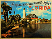Saint Marks Posters - St. Marks Lighthouse Florida Poster by Vintage Poster Designs