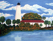 North American Lighthouses - Paintings By Frederic Kohli - St Marks Lighthouse Painting by Frederic Kohli