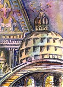 Catholic Art Drawings Originals - St Marks of Venice by Mindy Newman