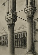 Columns Drawings Metal Prints - St. Marks Square Metal Print by Laurie Dellaccio