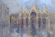 Wet Framed Prints - St Marks -Venice Framed Print by Peter Miller