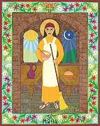 Gospel Mixed Media Posters - St. Martha Icon Poster by David Raber