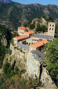 Cliffs Posters - St Martin du Canigou Abbey France Poster by Marilyn Dunlap
