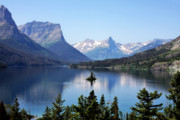 Landscape Digital Art Metal Prints - St Mary Lake - Glacier National Park MT Metal Print by Christine Till
