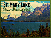 Montana Digital Art Prints - St. Mary Lake Glacier National Park Print by Vintage Poster Designs