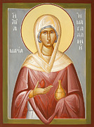 Egg Tempera Painting Metal Prints - St Mary Magdalene Metal Print by Julia Bridget Hayes