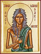 Icon Byzantine Painting Posters - St Mary of Egypt  Poster by Julia Bridget Hayes
