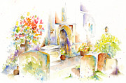 Headstones Painting Prints - St Mary The Virgin Headstones Print by Pat Katz