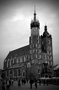 Old Krakow Framed Prints - St. Marys Basilica BW Framed Print by Kamil Swiatek