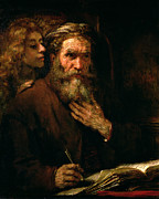 Old Man Posters - St Matthew and The Angel Poster by Rembrandt Harmensz van Rijn