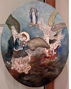 Jesus In Clouds Paintings - St. Michael the Arch Angel  by Simz Zucca