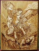 Michael Pyrography - St Michael the Archangel by Bob Renaud