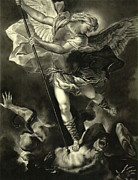 Light And Dark  Drawings Posters - St. Michael Vanquishing the Devil Poster by Tyler Anderson