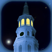 Midnight Blue Prints - St. Michaels Bell Tower Aglow Print by DigiArt Diaries by Vicky Browning
