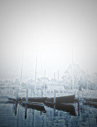 St. Michael Prints - St. Michaels Marina in the Fog Print by Bill Cannon