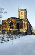 Burton Framed Prints - St Modwens Church - Burton - in the Snow Framed Print by Rod Johnson