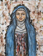 Folk Art Paintings - St. Monica by Rain Ririn