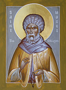Byzantine Icon Posters - St Moses the Ethiopian Poster by Julia Bridget Hayes