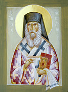 Saint Nektarios Of Aigina Painting Framed Prints - St Nektarios of Aigina II Framed Print by Julia Bridget Hayes