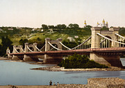 Kyiv Posters - St Nicholas Bridge in Kiev - Ukraine - ca 1900 Poster by International  Images