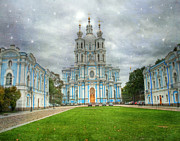 Domes Photo Prints - St. Nicholas Cathedral. St. Petersburg. Russia Print by Juli Scalzi
