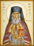 Byzantine Icon. Prints - St Nicholas of Japan Print by Julia Bridget Hayes