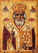 Orthodox Paintings - St. Nicholas the Wonderworker by Camelia Apostol